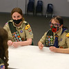 Jessica Shannon and Abby Thatcher chat with Lilly Shallenberger at a Scouts BSA Troop 628 meeting in Greentown on January 18, 2021.<br /> Kelly Lafferty Gerber | Kokomo Tribune
