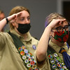 Abby Thatcher, right, and Jessica Shannon recite the Pledge of Allegiance prior to a Scouts BSA Troop 628 meeting in Greentown on January 18, 2021.<br /> Kelly Lafferty Gerber | Kokomo Tribune