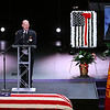 "3-9-21<br /> Chief Chris Frazier talks at Kokomo Firefighter Martin ""Marty"" Meyers funeral with full honors at Crossroads Community Church after he died of COVID-19 while an active duty firefighter. <br /> Tim Bath 