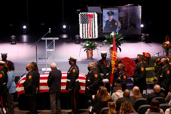 """3-9-21<br /> Kokomo Firefighter Martin """"Marty"""" Meyers funeral with full honors at Crossroads Community Church after he died of COVID-19 while an active duty firefighter.<br /> Tim Bath 