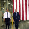 11-23-10<br /> President Barack Obama after being introduced by Vice President Joe Biden talks to workers at Chrysler's Indiana Transmission Plant in Kokomo, Ind. on Tuesday Nov, 23, 2010.  He announced that Chrysler will invest $850 million dollars in Kokomo.<br /> Kokomo Tribune photo by Tim Bath