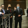 Mayor Tyler Moore gives the oath of office to the newest Kokomo Police officers Travis Cooper, Samantha Raber and Issa Oliver with chief Stout watching on Jan. 4, 2021.<br /> Tim Bath   Kokomo Tribune