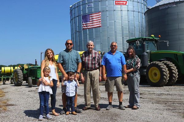 Musselman family from left: 6-year-old Hayden, Leah, Kyle, 4-year-old Kasen, Maury, Fred and Pam. They represent four generations of Musselmans on Thursday, July 1, 2021.<br /> Kelly Lafferty Gerber | Kokomo Tribune