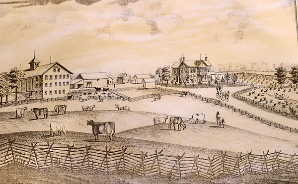 A drawing of part of the farm in an 1877 atlas. The buildings are still standing and being used.<br /> Kelly Lafferty Gerber   Kokomo Tribune
