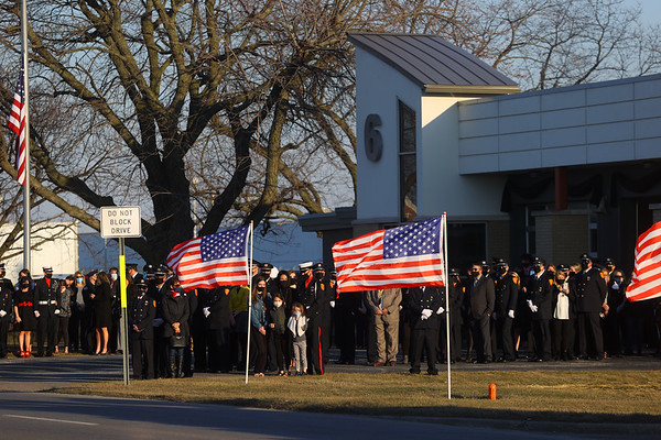 The funeral procession for Captain Marty Meyers ended at Fire Station 6 on Tuesday, March 9, 2021.<br /> Kelly Lafferty Gerber | Kokomo Tribune