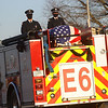Fire Engine 6, carrying the casket of Captain Marty Meyers, nears Fire Station 6, the final stop in Meyers' funeral procession on Tuesday, March 9, 2021.<br /> Kelly Lafferty Gerber | Kokomo Tribune