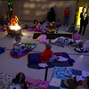 """Redeemer Lutheran preschoolers and kindergartners sit on blankets and sleeping bags as they listen to a story while having a """"sleepout experience"""" in their gym on Friday, March 12, 2021, to raise awareness of homelessness.<br /> Kelly Lafferty Gerber 