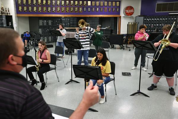 5-12-21<br /> Northwestern HS has won the ISSMA All-Music Award again this year. Band director Jason Snyder directs the Band during class.<br /> Tim Bath   Kokomo Tribune