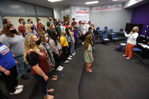 5-12-21 Choir director Kendra Kirby practices with the choir. Northwestern HS has won the ISSMA All-Music Award again this year. Tim Bath | Kokomo Tribune
