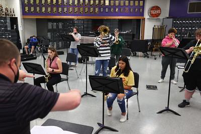 5-12-21 Northwestern HS has won the ISSMA All-Music Award again this year. Band director Jason Snyder directs the Band during class. Tim Bath | Kokomo Tribune