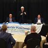 5-12-21<br /> Senator Jim Buck, moderator Kirk Daniels, Rep. Tony Cook, Rep Heath VanNatter, and Rep. Mike Karickhoff participate in the final 3rd house of the season at Celebrations.<br /> Tim Bath | Kokomo Tribune