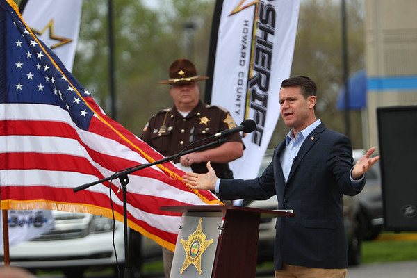 5-6-21<br /> Howard County Sheriff Department's annual inspection ceremony on Thursday. Senator Todd Young addresses the department and crowd with support for police with Sheriff Jerry Asher behind him.<br /> Tim Bath | Kokomo Tribune