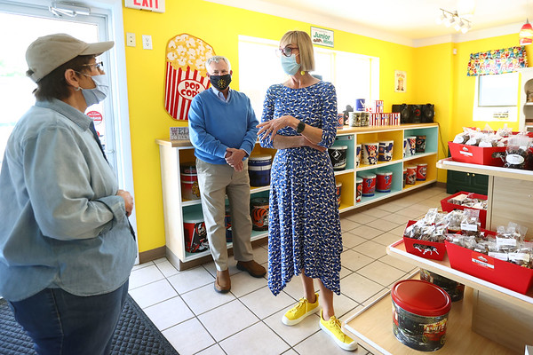5-5-21 Lt. Governor Suzanne Couch, stopped by the Popcorn Cafe. She talks with owner Grace Jones with State Rep. Mike Karickhoff listening. Tim Bath | Kokomo Tribune