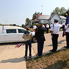 9-12-21<br /> Marine Corps Cpl. Humberto Sanchez's body is flown into Grissom ARB and taken to Logansport in a procession that included over 6000 motorcycles on Sunday. The honor guard stands at attention outside the funeral home.<br /> Tim Bath | Kokomo Tribune