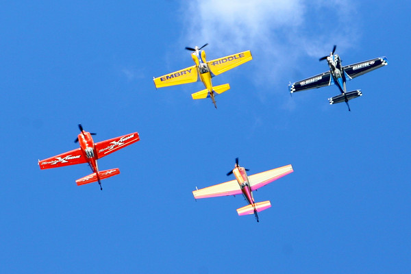 7-24-14 <br /> Airshow practice at Kokomo Municipal Airport in preparation for Saturday's free airshow. Pilots Rob Holland, Rill Stein, Matt Chapman and Jack Knutson perform together.<br /> Tim Bath | Kokomo Tribune