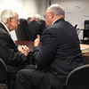 4-25-13<br /> Dr. Robert Brewer at the Indiana Government Center with his attorney Richard Kiefer for the licensing hearing.<br /> KT photo | Scott Smith