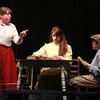 """4-28-13<br /> Tipton Community Theater's 20th anniversary """"Our Town""""<br /> J.L. Murdoch, playing Mrs. Webb, does a scene of """"Our Town"""" with Rebecca Roy, playing Emily Web, and Jadin Payton, playing Wally Webb.<br /> KT photo   Kelly Lafferty"""