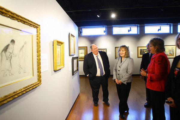4-15-14   --- Glenda Ritz, the Superintendent of Public Instruction for Indiana, visiting Peru, Ind. with a stop at the Rotary Club and then Peru HS. In the perminate collections art gallery at Peru HS. -- <br />   Tim Bath | Kokomo Tribune