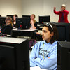 4-9-14<br /> First generation college student, Keeana Walton<br /> Keeana Walton watches her classmates give a presentation about MLA and APA formatting for papers in her English class at IUK.<br /> Kelly Lafferty | Kokomo Tribune