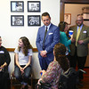 4-17-14<br /> New Kokomo Democrat headquarters<br /> Bobbi Baldridge (left) and Kaylee Ridgeway have a conversation as Erik May talks with Julie Caldwell Harrell as they, along with other Howard County Democrats get together for a celebration of their new location on the third floor of the Chamber of Commerce building.<br /> Kelly Lafferty | Kokomo Tribune