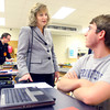 4-15-14   --- Glenda Ritz, the Superintendent of Public Instruction for Indiana, visiting Peru, Ind. with a stop at the Rotary Club and then Peru HS. Ritz talks with senior Jordan Ward while visiting a classroom. -- <br />   Tim Bath | Kokomo Tribune