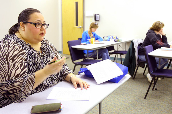 3-17-14   --- First generation college student Mimi Ford during one of her classes at Ivy Tech. -- <br />   Tim Bath | Kokomo Tribune