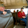 4-2-14   --- Sharpsville in northern Tipton County. Herman Cook, RenŽ DeAngelis and Tom Moulder sit on a Tri-Central bus talking in front of the convenient store. -- <br />   Tim Bath | Kokomo Tribune