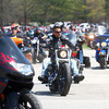 4-27-14<br /> Ride for Troops<br /> Motorcyclists make their way out of Darrough Chapel Park on Sunday afternoon during Ride for Troops.<br /> Kelly Lafferty | Kokomo Tribune