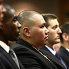 8-8-12<br /> Kokomo Police Department Officer Recruitment Ceremony<br /> David A. Bell and the other recruit officers listen to the speakers during the ceremony at City Hall on Wednesday.<br /> KT photo | Kelly Lafferty