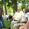 8-4-12<br /> Employees of the now defunct Continental Steel gather for a bi-annual reunion at Highland Park's Roger's Pavilion.<br /> Kenny Thieke, Larry Nichols, Willie Whitfield and Lewis Anderson talk about the days at the steel mill.<br /> KT photo | Tim Bath