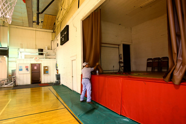 8-2-12<br /> Ed Asher in the Converse Gym built in 1926 and used as the school gym till 1959. The building is in need of a lot of costly repairs. The town is looking at weather it is feasible to rehab.<br /> KT photo   Tim Bath