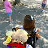 8-30-12<br /> Taylor Primary School 3rd graders carry a stuffed monkey around the school in place of classmate Alana Johnson who is out sick with Lukemia.<br /> KT photo | Tim Bath