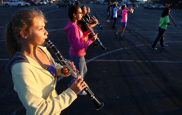 8-22-12<br /> Western HS marching band practices on Thursday morning.<br /> Libby Amaya playing the clarinet.<br /> KT photo | Tim Bath
