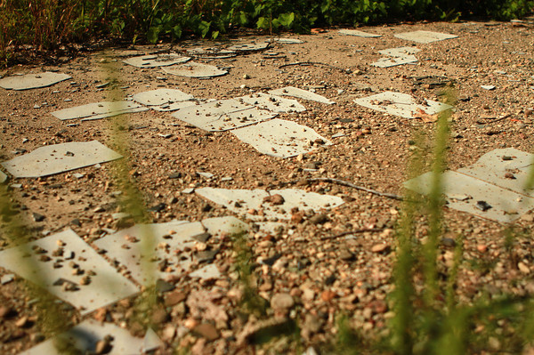 8-29-12<br /> Monument City, IN<br /> Old floor tiling from a home usually is underwater, but because of the drought-like conditions,  are visible.<br /> KT photo   Kelly Lafferty