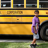 8-14-12<br /> Minor bus accident at Hoffer and Webster<br /> An Elwood Haynes student waits in front of the bus after a minor bus accident on Tuesday afternoon at Hoffer and Webster.<br /> KT photo | Kelly Lafferty