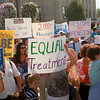 8-30-12<br /> Delphi rally<br /> Delphi retirees and Greg Goodnight supporters hold up signs in front of the courthouse during a rally on Thursday.<br /> KT photo | Kelly Lafferty