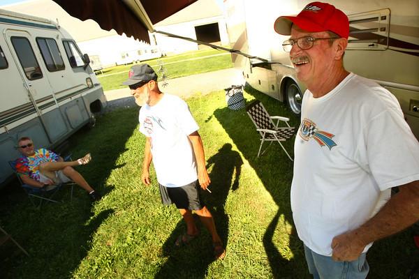 8-23-12<br /> USAC fans camping at Kokomo Speedway.<br /> Bob Clauson and Joe Ott(right)<br /> KT photo | Tim Bath