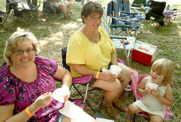 8-25-12<br /> Out and About Winding Creek bluegrass festival<br /> Tina Mullens, Tia Jackson, and Kaycee Jackson<br /> KT photo   Kelly Lafferty
