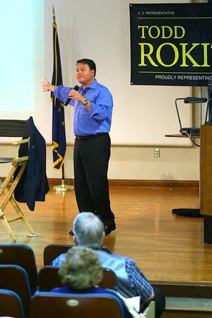 8-11-14<br /> Representative Todd Rokita at a question and answer session at IUK on Monday.<br /> Tim Bath | Kokomo Tribune