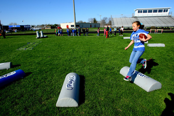 4-23-14   --- Colts' Play60 visit to Taylor Schools for a day of physical activities. -- <br />   Tim Bath   Kokomo Tribune