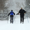 12-26-12<br /> Kokomo snow<br /> Gina Zachman and David Heckman make their way to Highland Park on cross country skis on Wednesday.<br /> KT photo | Kelly Lafferty