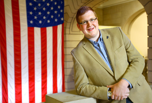 12-2-13   ---  Ethan manning, the youngest GOP chairman in the state, in the Miami County Courthouse.<br />   KT photo | Tim Bath