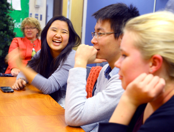 12-16-13   ---  International students that will be spending Christmas in the United States talk about it. Chrisina Pan, Leo Lian and Piritta Rasanen laugh about their experiences.<br />   KT photo | Tim Bath