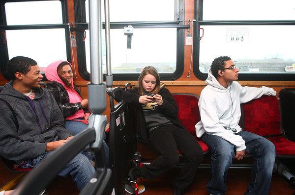 12-6-13<br /> Kokomo students learning the trolley<br /> From left: Anthony McCray, Brianna Scott, Haley Stout, and Drew Holiday ride the trolley from Kokomo High School to the downtown station to learn how the trolley system works in Kokomo.<br /> KT photo | Kelly Lafferty
