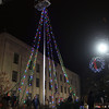 12-5-13<br /> IBEW and Huston Electric strung up Christmas lights on the flagpole in front of the courthouse on Thursday night.<br /> KT photo | Kelly Lafferty