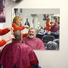 """12-5-13<br /> Communities in Denver, Indiana<br /> Dan Donaldson talks with Kim Fortney as she cuts his hair at """"A Li'l off the Top"""" Style Shop in Denver, Ind.<br /> KT photo 