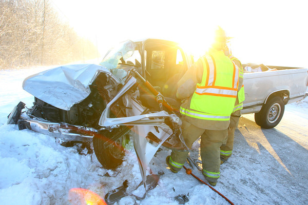 2-3-14   ---  An accident on 100 South near 750 East. The driver of the pickup truck was attempting to pass another car when it collided with an SUV head on. The driver of the pickup was extercated and taken via ambulance to the hospital. Noone else was injured. -- <br />   KT photo | Tim Bath