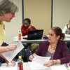 2-14-14<br /> Ivy Tech Adjunct<br /> Ivy Tech adjunct faculty, Michele Harding, answers questions from Cindy Dulin in class on Friday.<br /> KT photo | Kelly Lafferty