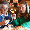 2-22-14<br /> Winter Woolen Workshop<br /> Elsie Condo (left) learns English hand smocking from Sandy Fike on Saturday morning at the Winter Woolen Workshop.<br /> KT photo | Kelly Lafferty