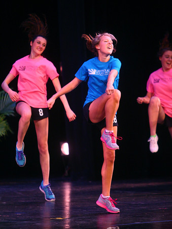 2-15-14<br /> Distinguished Young Women Saturday<br /> Madison Ross of Tri-West does Zumba moves in the fitness portion of Saturday's Distinguished Young Women program.<br /> KT photo | Kelly Lafferty